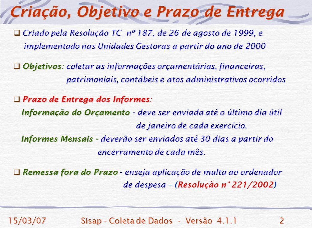 15/03/07Sisap - Coleta de Dados - Versão 4.1.12 Criado pela Resolução TC nº 187, de 26 de agosto de 1999, e Criado pela Resolução TC nº 187, de 26 de