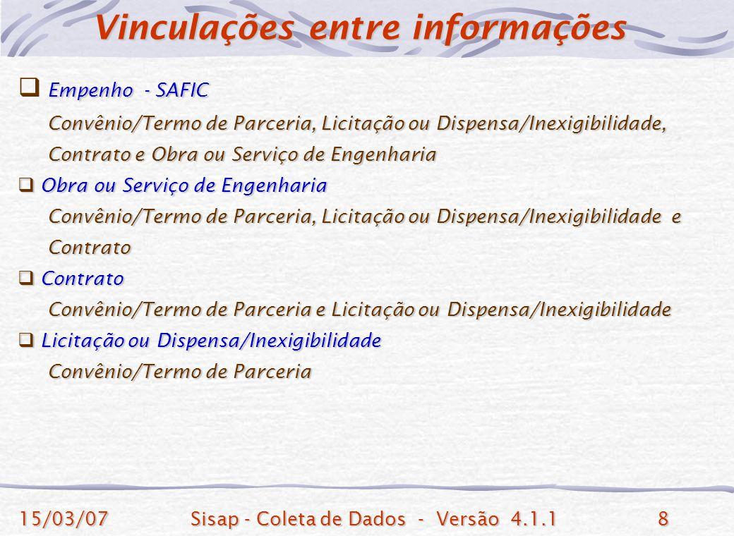 15/03/07Sisap - Coleta de Dados - Versão 4.1.18 Empenho - SAFIC Convênio/Termo de Parceria, Licitação ou Dispensa/Inexigibilidade, Convênio/Termo de P