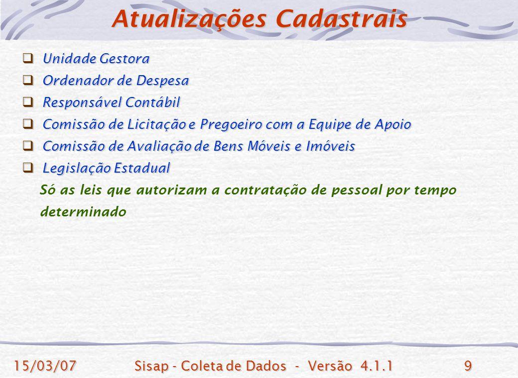 15/03/07Sisap - Coleta de Dados - Versão 4.1.19 Unidade Gestora Unidade Gestora Ordenador de Despesa Ordenador de Despesa Responsável Contábil Respons