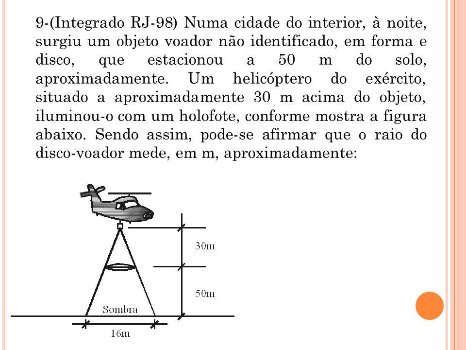 9-(Integrado RJ-98) Numa cidade do interior, à noite, surgiu um objeto voador não identificado, em forma e disco, que estacionou a 50 m do solo, aprox