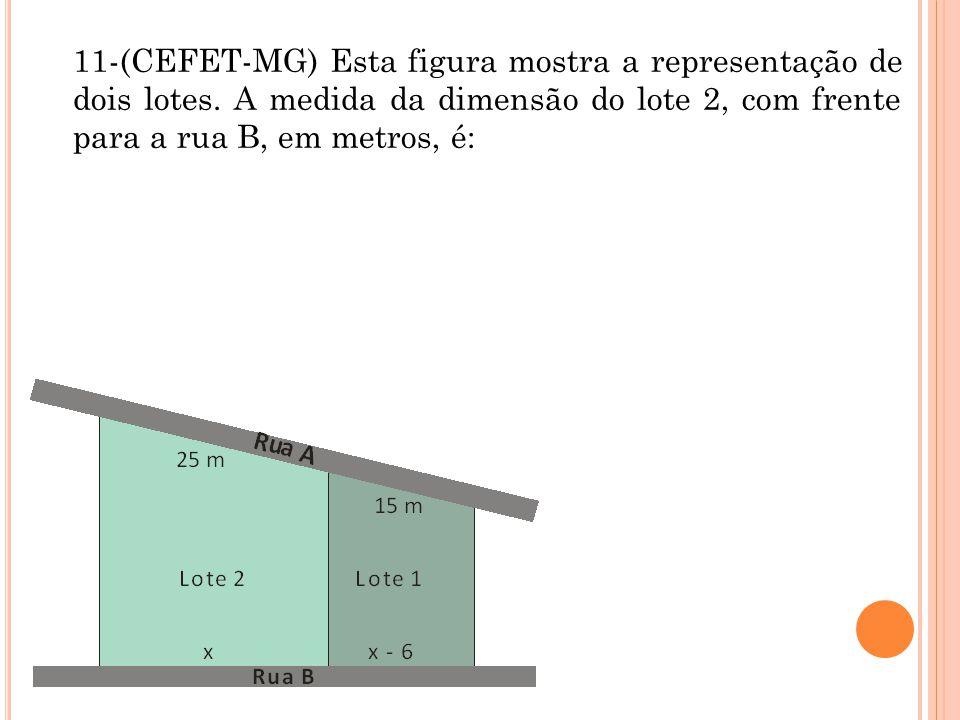 11-(CEFET-MG) Esta figura mostra a representação de dois lotes. A medida da dimensão do lote 2, com frente para a rua B, em metros, é: