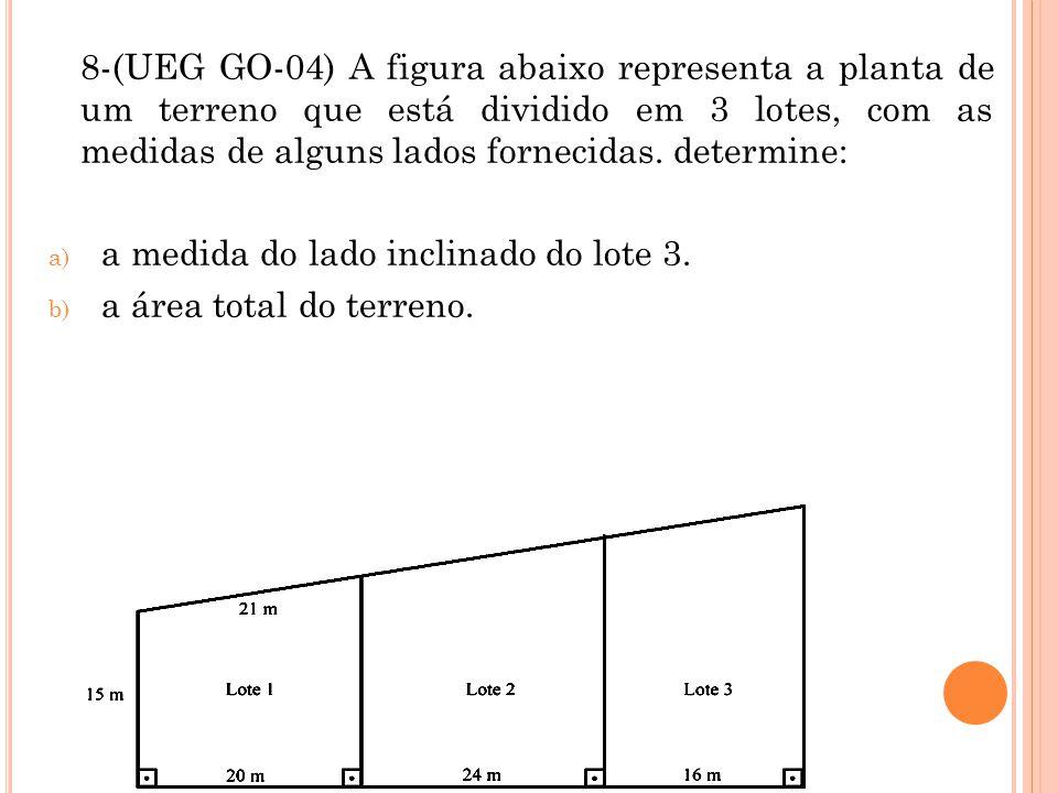 8-(UEG GO-04) A figura abaixo representa a planta de um terreno que está dividido em 3 lotes, com as medidas de alguns lados fornecidas. determine: a)