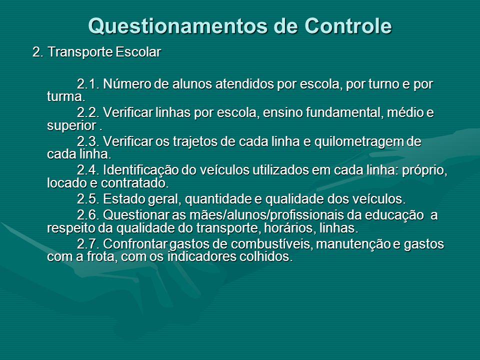 Questionamentos de Controle 2. Transporte Escolar 2. Transporte Escolar 2.1. Número de alunos atendidos por escola, por turno e por turma. 2.1. Número
