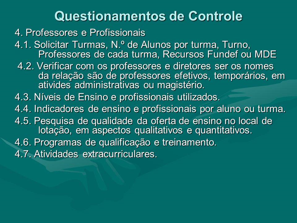 Questionamentos de Controle 4. Professores e Profissionais 4.1.