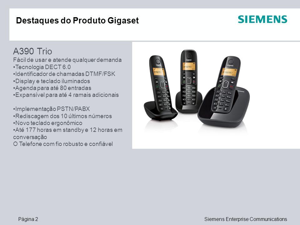 Página 2Siemens Enterprise Communications Destaques do Produto Gigaset A390 Trio Fácil de usar e atende qualquer demanda Tecnologia DECT 6.0 Identific