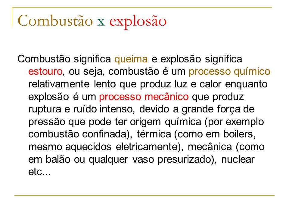 Combustão x explosão Combustão significa queima e explosão significa estouro, ou seja, combustão é um processo químico relativamente lento que produz