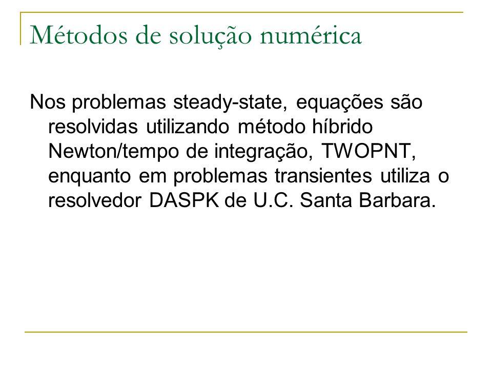 Métodos de solução numérica Nos problemas steady-state, equações são resolvidas utilizando método híbrido Newton/tempo de integração, TWOPNT, enquanto