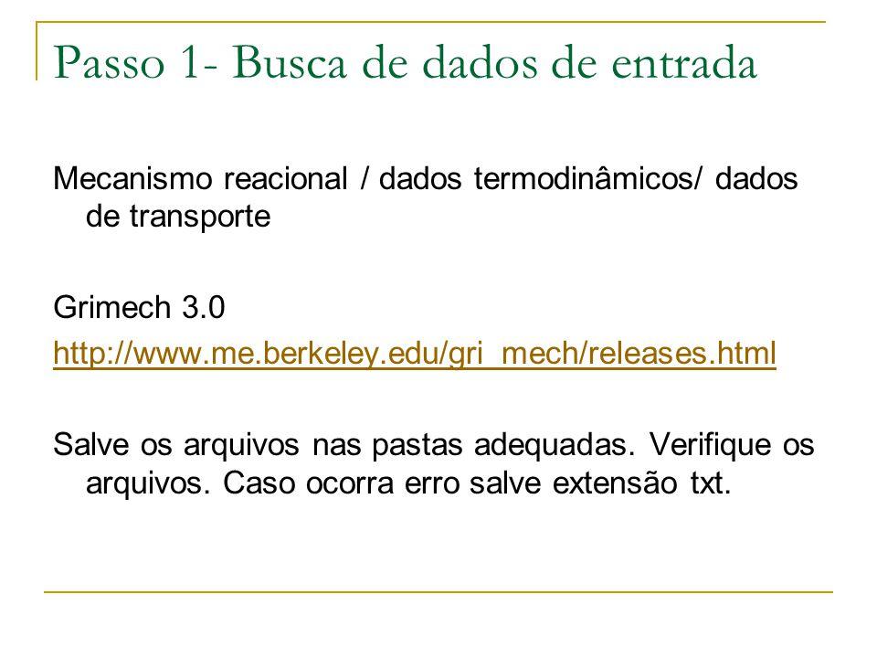 Passo 1- Busca de dados de entrada Mecanismo reacional / dados termodinâmicos/ dados de transporte Grimech 3.0 http://www.me.berkeley.edu/gri_mech/rel