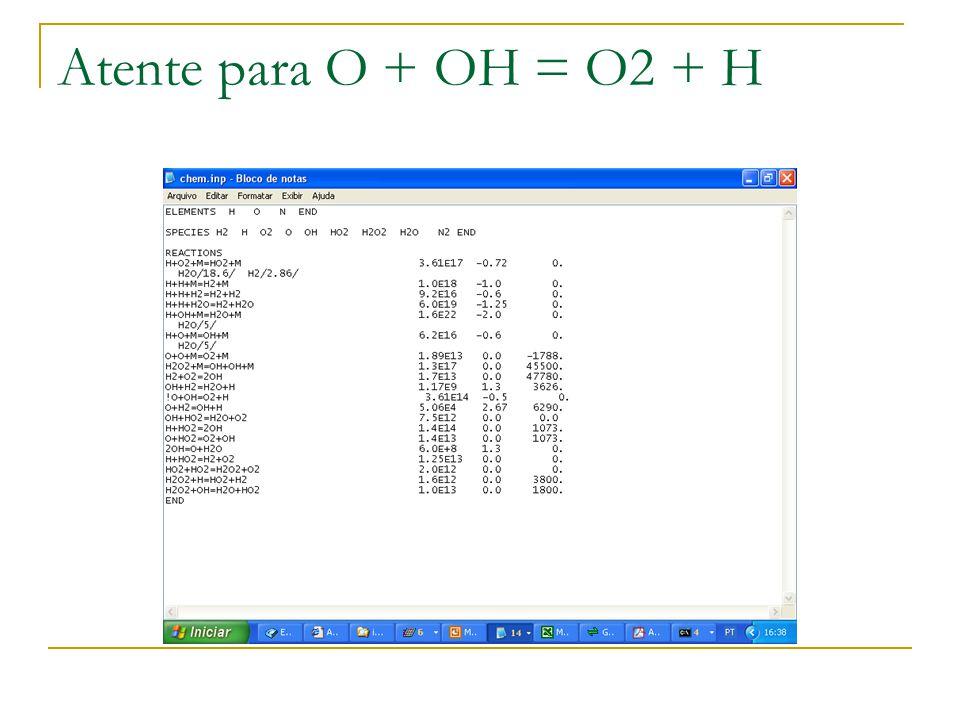 Atente para O + OH = O2 + H