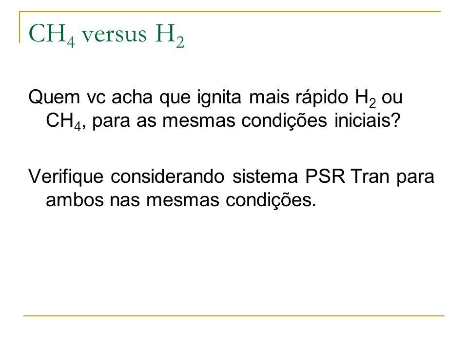 CH 4 versus H 2 Quem vc acha que ignita mais rápido H 2 ou CH 4, para as mesmas condições iniciais? Verifique considerando sistema PSR Tran para ambos