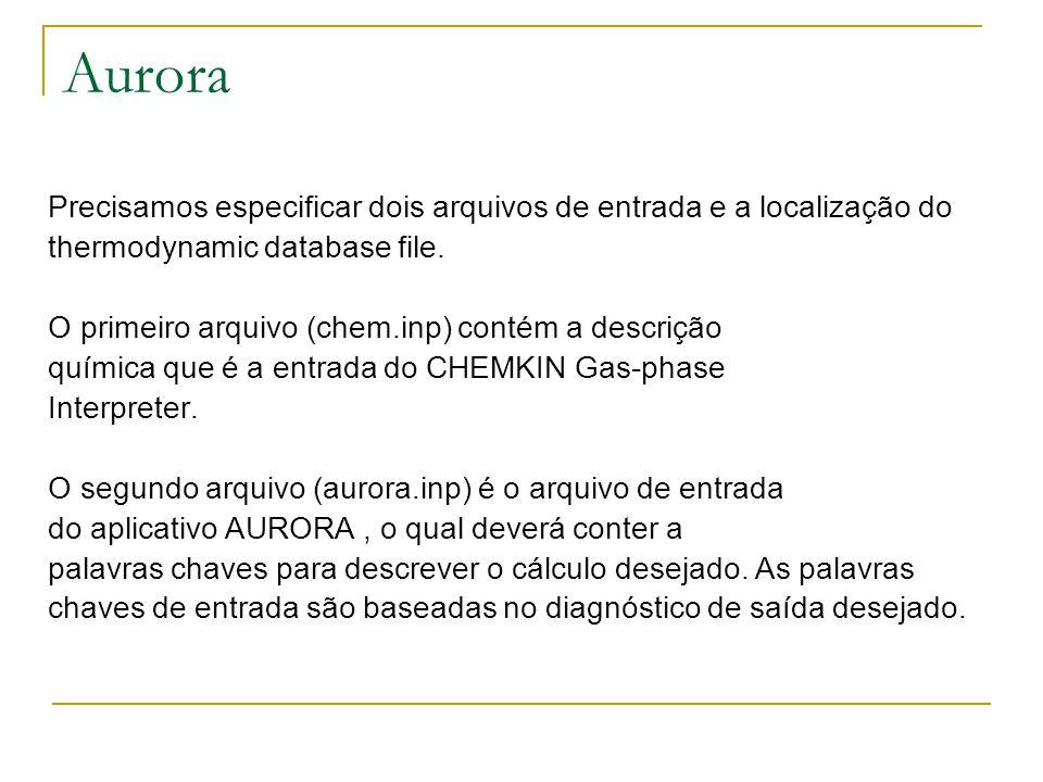 Precisamos especificar dois arquivos de entrada e a localização do thermodynamic database file. O primeiro arquivo (chem.inp) contém a descrição quími