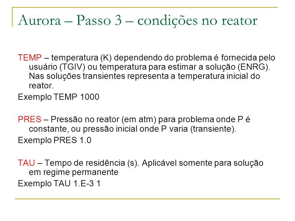 Aurora – Passo 3 – condições no reator TEMP – temperatura (K) dependendo do problema é fornecida pelo usuário (TGIV) ou temperatura para estimar a sol
