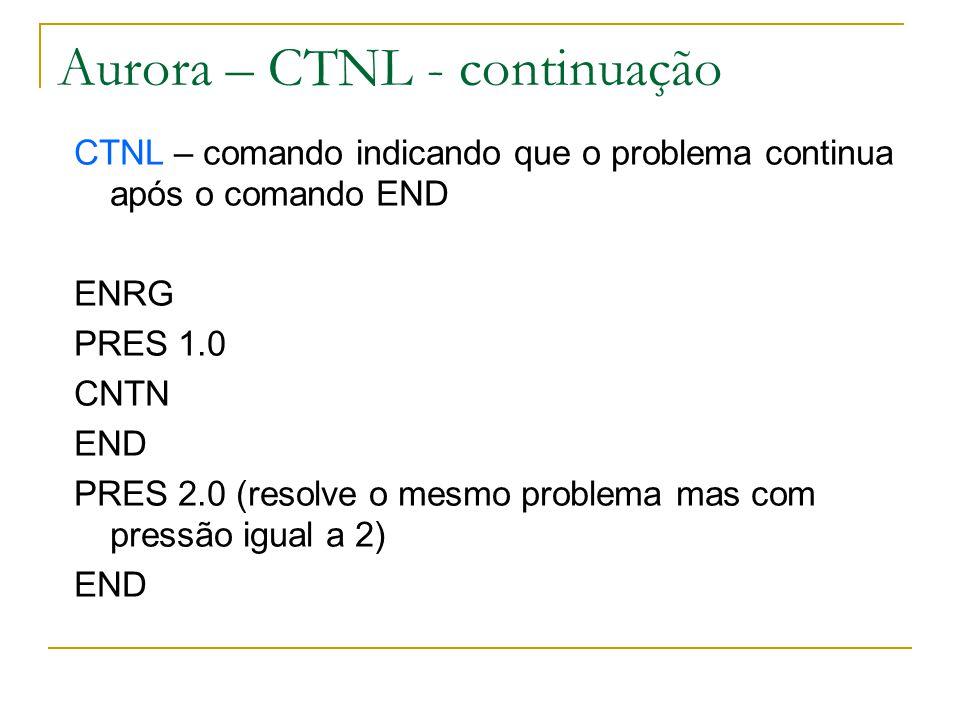 Aurora – CTNL - continuação CTNL – comando indicando que o problema continua após o comando END ENRG PRES 1.0 CNTN END PRES 2.0 (resolve o mesmo probl