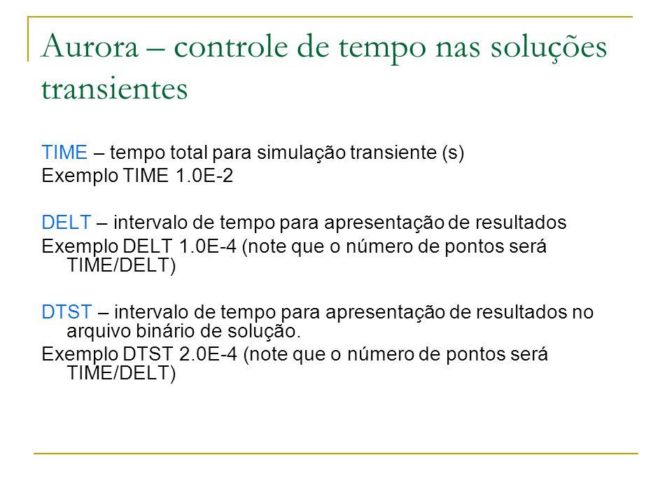 Aurora – controle de tempo nas soluções transientes TIME – tempo total para simulação transiente (s) Exemplo TIME 1.0E-2 DELT – intervalo de tempo par