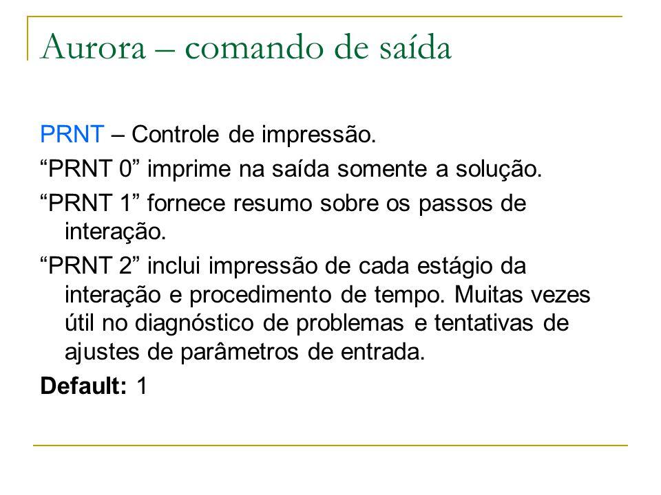 Aurora – comando de saída PRNT – Controle de impressão. PRNT 0 imprime na saída somente a solução. PRNT 1 fornece resumo sobre os passos de interação.