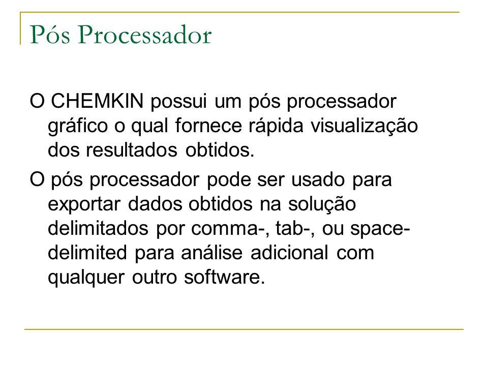 Pós Processador O CHEMKIN possui um pós processador gráfico o qual fornece rápida visualização dos resultados obtidos. O pós processador pode ser usad