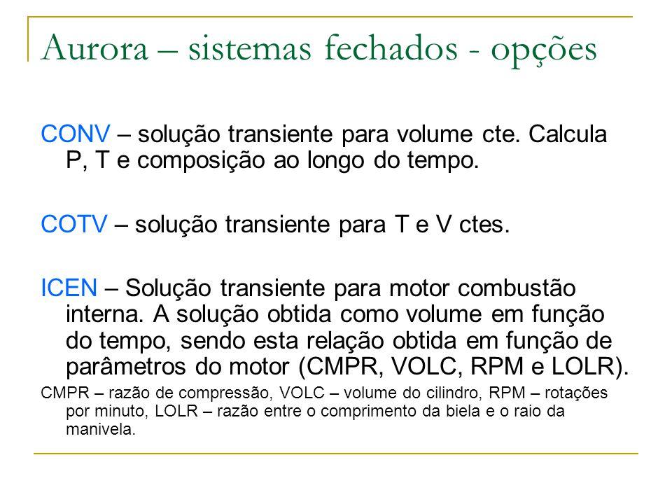 CONV – solução transiente para volume cte. Calcula P, T e composição ao longo do tempo. COTV – solução transiente para T e V ctes. ICEN – Solução tran