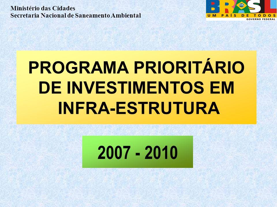 Ministério das Cidades Secretaria Nacional de Saneamento Ambiental PROGRAMA PRIORITÁRIO DE INVESTIMENTOS EM INFRA-ESTRUTURA 2007 - 2010