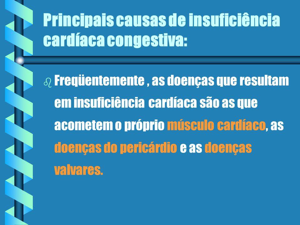 Principais causas de insuficiência cardíaca congestiva: b b Freqüentemente, as doenças que resultam em insuficiência cardíaca são as que acometem o próprio músculo cardíaco, as doenças do pericárdio e as doenças valvares.