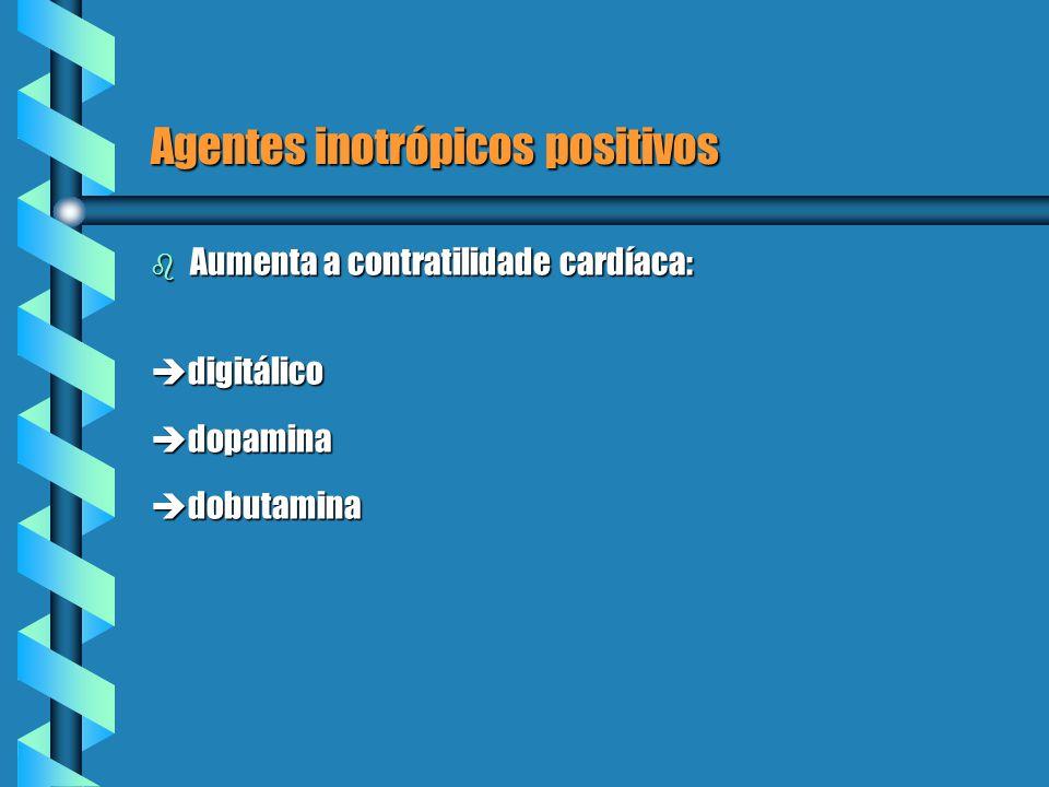 Agentes inotrópicos positivos b Aumenta a contratilidade cardíaca: digitálico digitálico dopamina dopamina dobutamina dobutamina