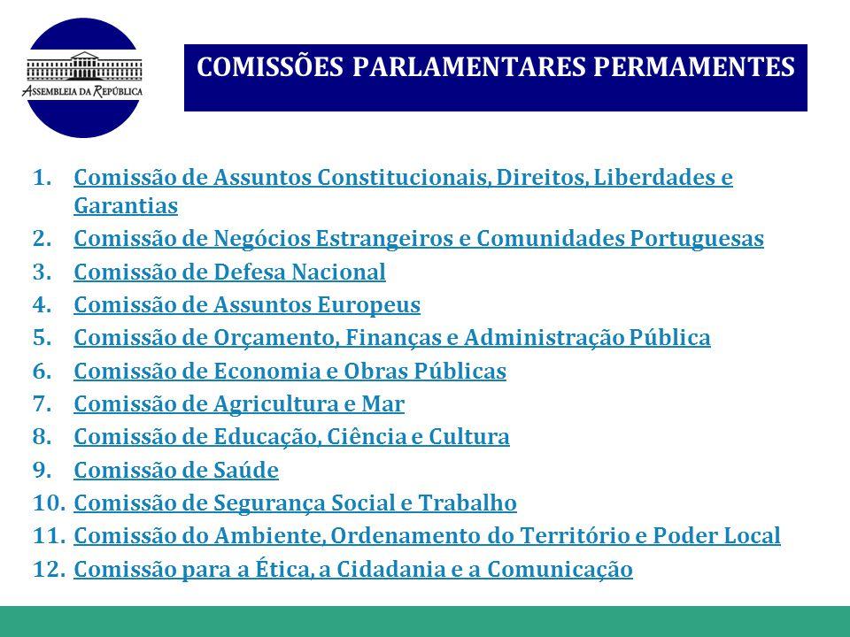 www.themegallery.com COMISSÕES PARLAMENTARES PERMAMENTES 1.Comissão de Assuntos Constitucionais, Direitos, Liberdades e GarantiasComissão de Assuntos