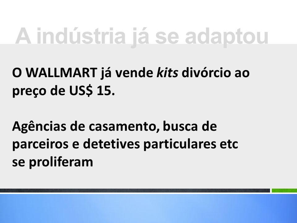 O WALLMART já vende kits divórcio ao preço de US$ 15. Agências de casamento, busca de parceiros e detetives particulares etc se proliferam A indústria