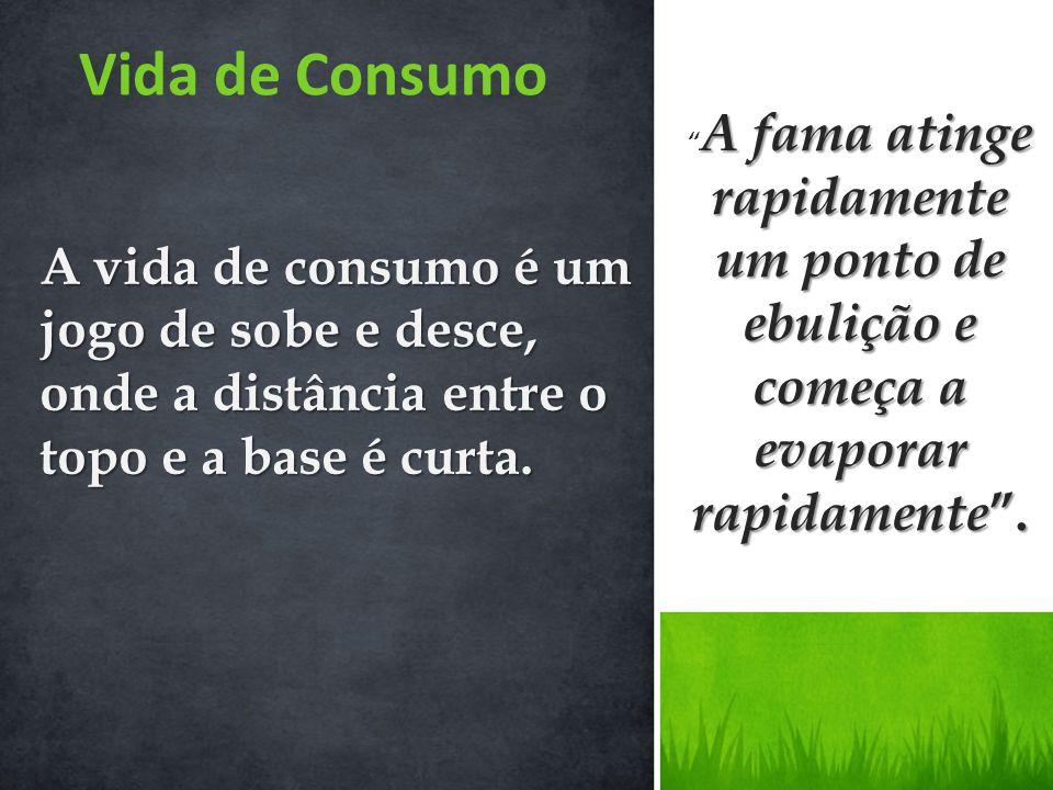 Vida de Consumo A vida de consumo é um jogo de sobe e desce, onde a distância entre o topo e a base é curta. A fama atinge rapidamente um ponto de ebu