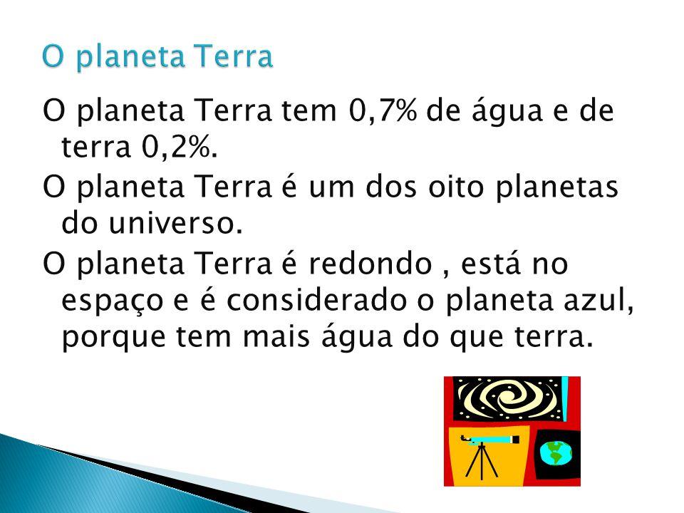 O planeta Terra tem 0,7% de água e de terra 0,2%. O planeta Terra é um dos oito planetas do universo. O planeta Terra é redondo, está no espaço e é co