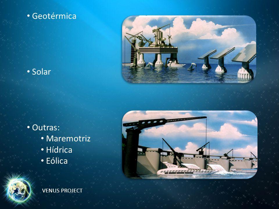 Geotérmica Solar Outras: Maremotriz Hídrica Eólica VENUS PROJECT