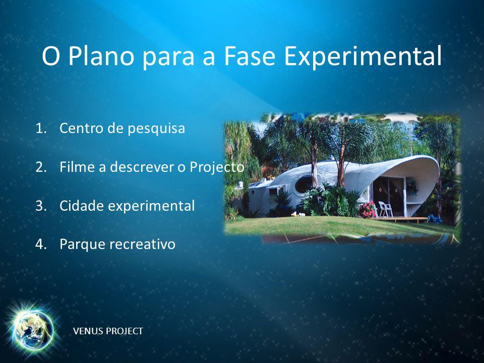 O Plano para a Fase Experimental 1.Centro de pesquisa 2.Filme a descrever o Projecto 3.Cidade experimental 4.Parque recreativo VENUS PROJECT