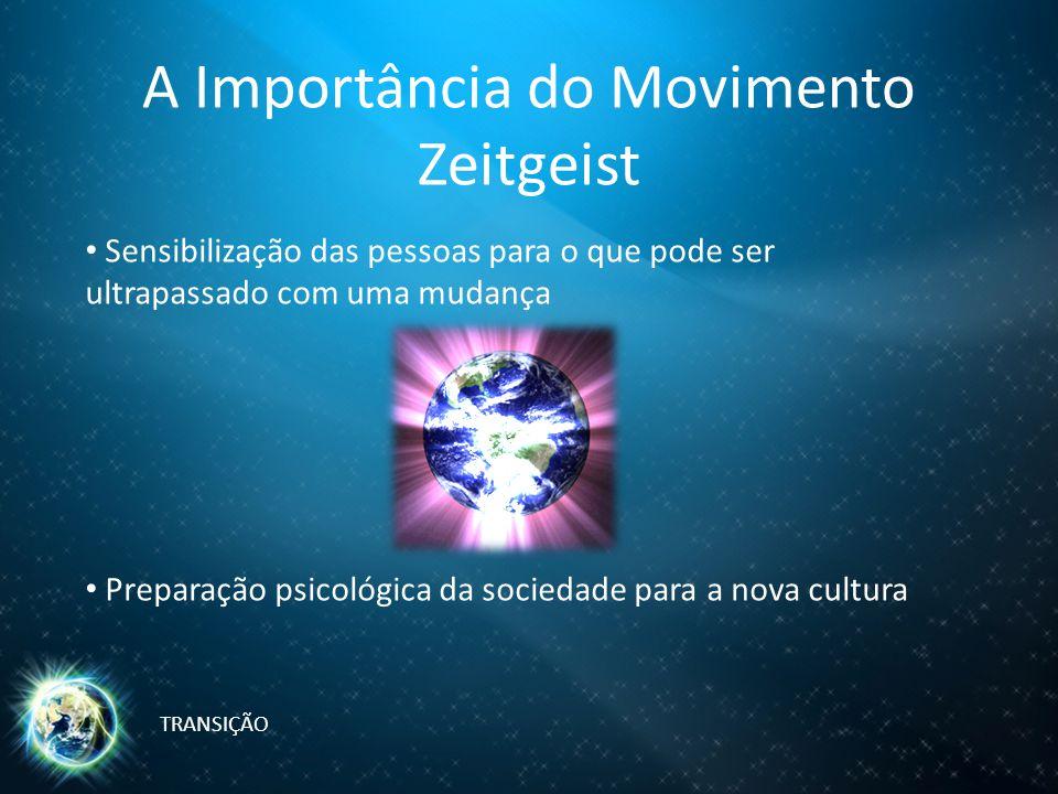 A Importância do Movimento Zeitgeist Sensibilização das pessoas para o que pode ser ultrapassado com uma mudança Preparação psicológica da sociedade para a nova cultura TRANSIÇÃO