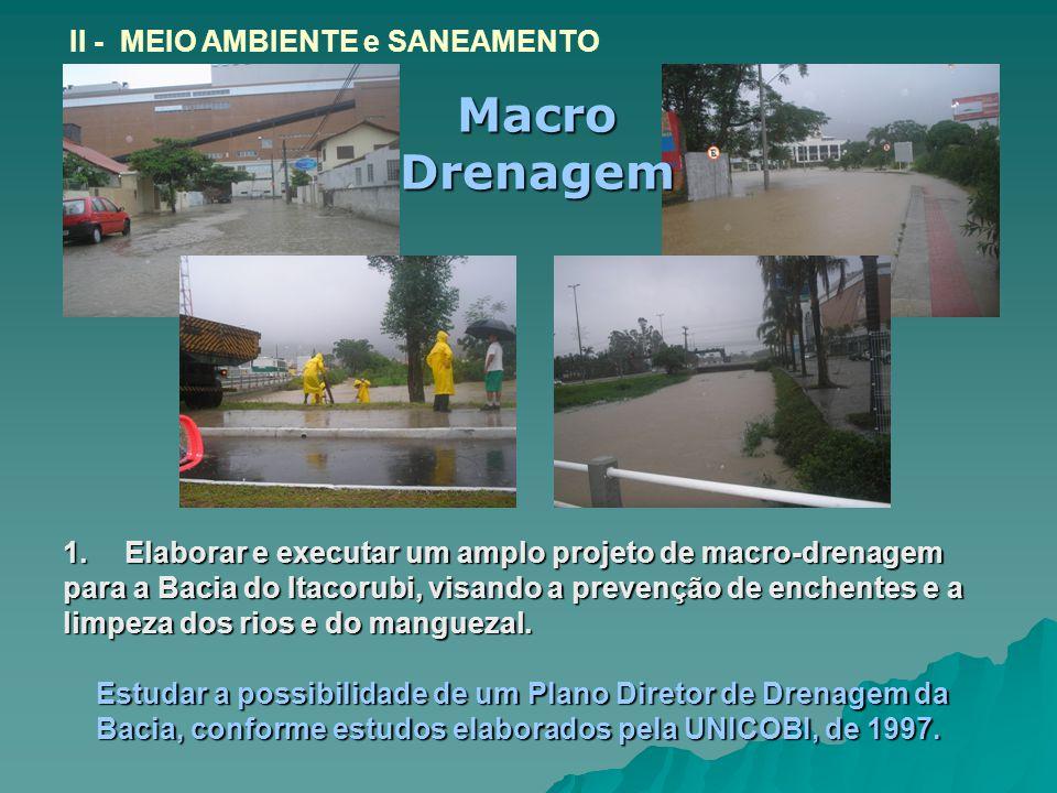1.Elaborar e executar um amplo projeto de macro-drenagem para a Bacia do Itacorubi, visando a prevenção de enchentes e a limpeza dos rios e do manguezal.