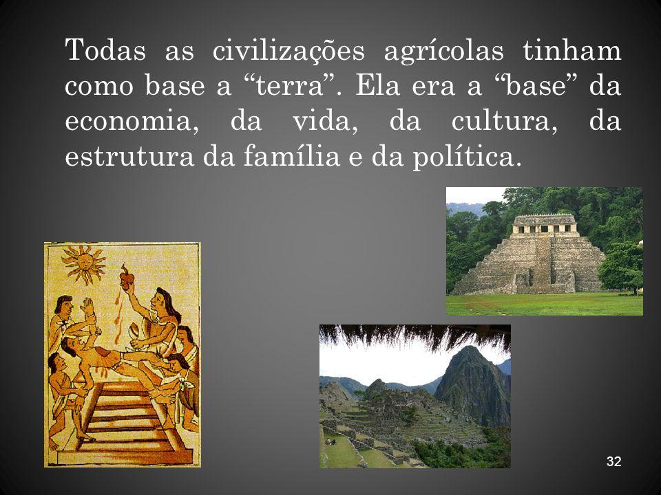32 Todas as civilizações agrícolas tinham como base a terra. Ela era a base da economia, da vida, da cultura, da estrutura da família e da política.