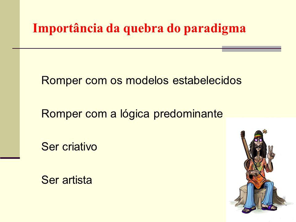 Importância da quebra do paradigma Romper com os modelos estabelecidos Romper com a lógica predominante Ser criativo Ser artista 4