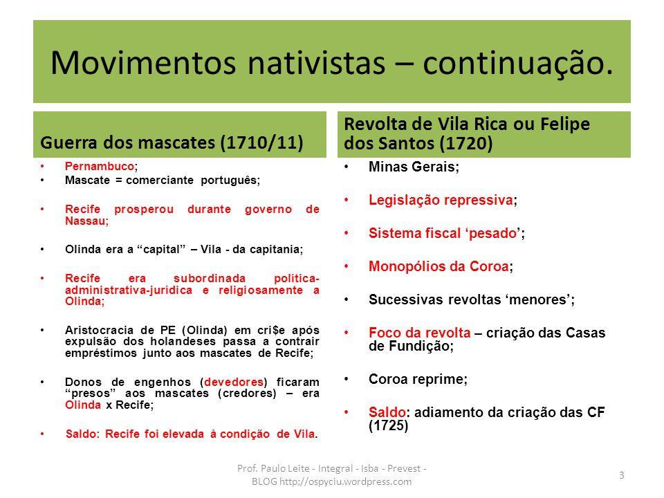 Movimentos nativistas – continuação. Guerra dos mascates (1710/11) Pernambuco; Mascate = comerciante português; Recife prosperou durante governo de Na