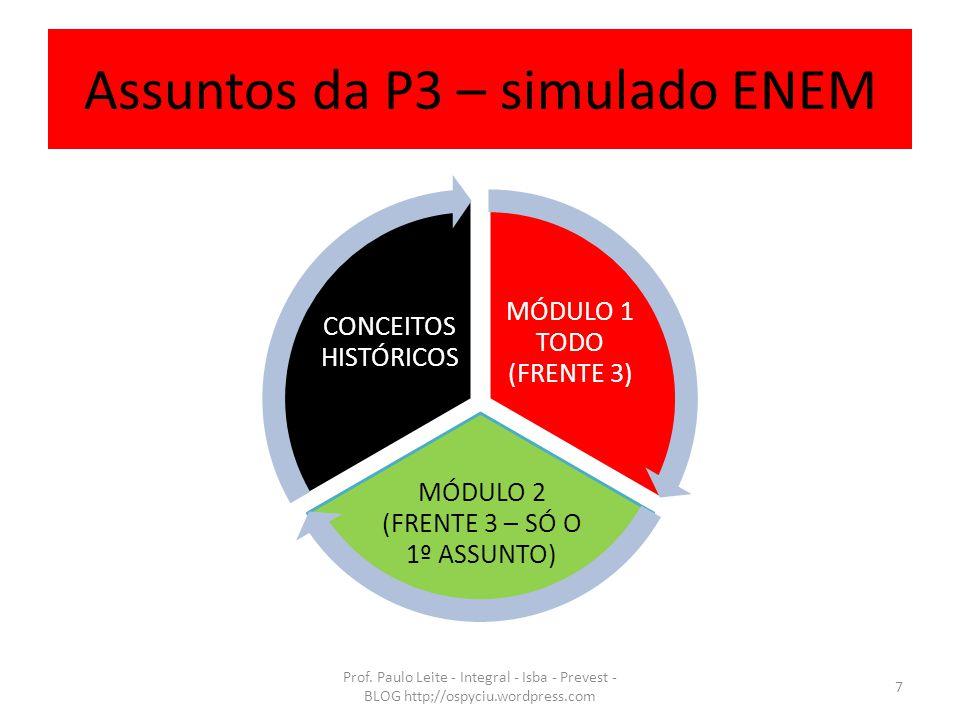 Assuntos da P3 – simulado ENEM MÓDULO 1 TODO (FRENTE 3) MÓDULO 2 (FRENTE 3 – SÓ O 1º ASSUNTO) CONCEITOS HISTÓRICOS Prof. Paulo Leite - Integral - Isba
