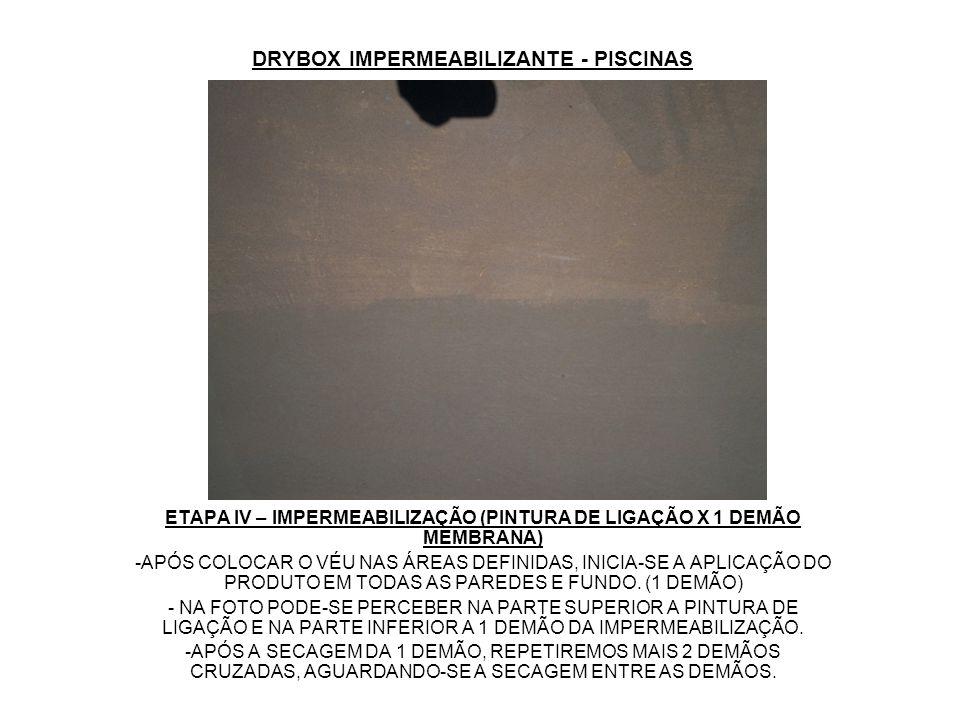 DRYBOX IMPERMEABILIZANTE - PISCINAS ETAPA IV – IMPERMEABILIZAÇÃO (PINTURA DE LIGAÇÃO X 1 DEMÃO MEMBRANA) -APÓS COLOCAR O VÉU NAS ÁREAS DEFINIDAS, INIC