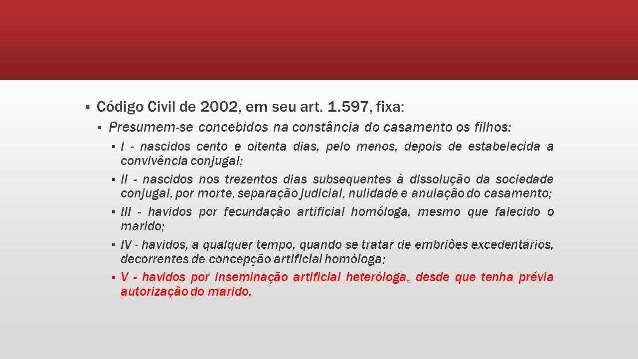 Código Civil de 2002, em seu art. 1.597, fixa: Presumem-se concebidos na constância do casamento os filhos: I - nascidos cento e oitenta dias, pelo me