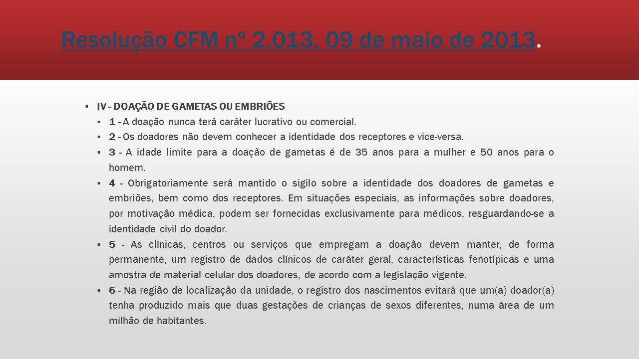 Resolução CFM nº 2.013, 09 de maio de 2013Resolução CFM nº 2.013, 09 de maio de 2013. IV - DOAÇÃO DE GAMETAS OU EMBRIÕES 1 - A doação nunca terá carát
