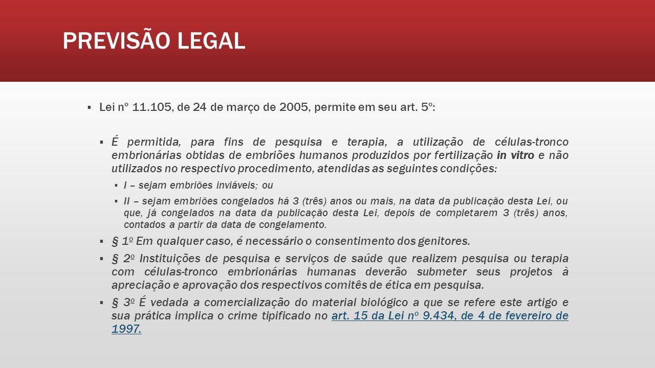 PREVISÃO LEGAL Lei nº 11.105, de 24 de março de 2005, permite em seu art. 5º: É permitida, para fins de pesquisa e terapia, a utilização de células-tr