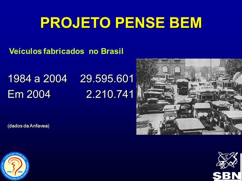 1984 a 2004 29.595.601 Em 2004 2.210.741 (dados da Anfavea) 1984 a 2004 29.595.601 Em 2004 2.210.741 (dados da Anfavea) PROJETO PENSE BEM Veículos fab