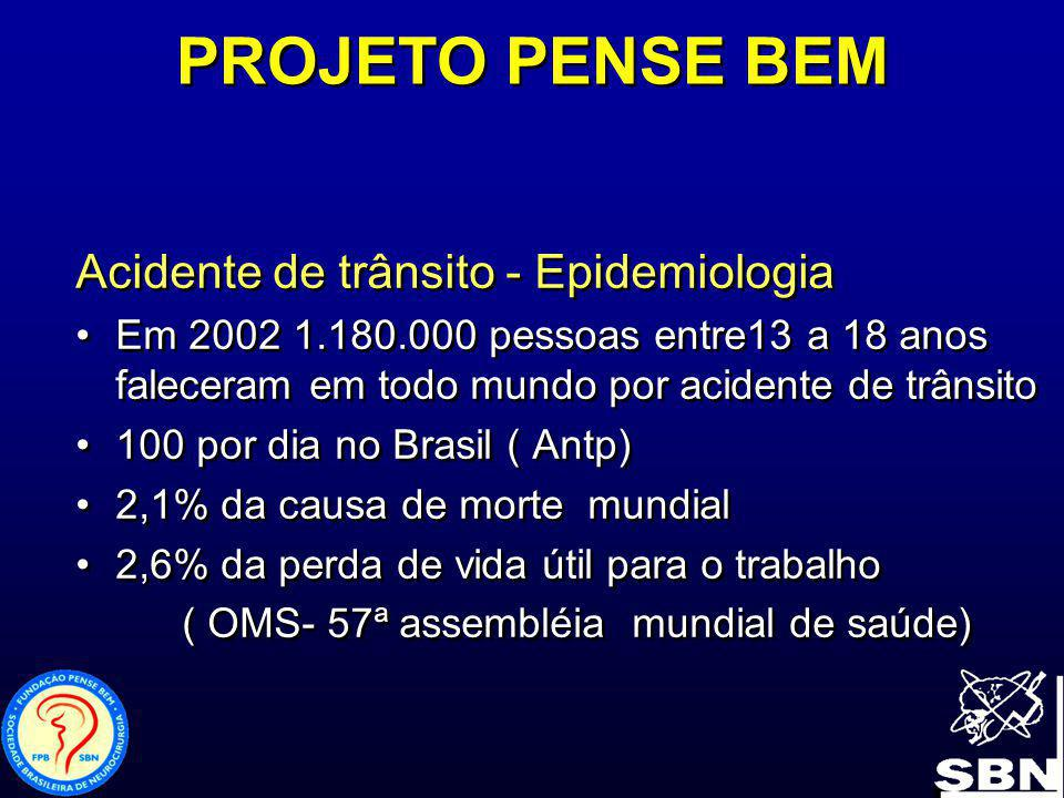 PROJETO PENSE BEM Acidente de trânsito –Epidemiologia- cont.