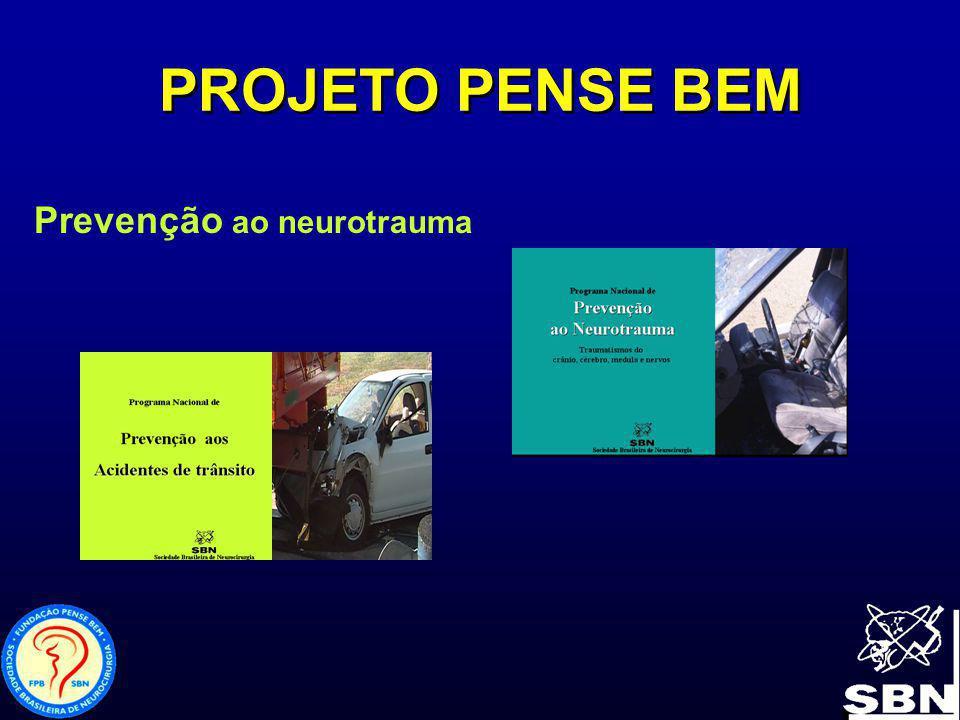PROJETO PENSE BEM Primeiro Projeto – Prevenção ao Neurotrauma 1 – Vídeo-clipe com mensagens relativas aos traumas de crânio e coluna para serem apresentados nas escolas 2 – Palestras educativas