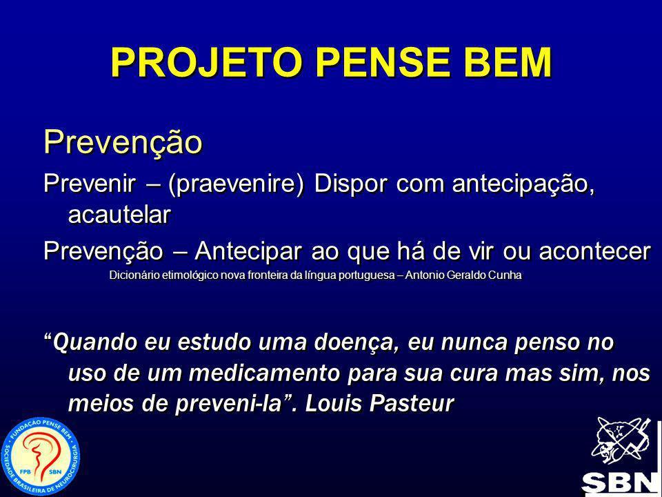 PROJETO PENSE BEM Programa PENSE BEM no Brasil Inicio em agosto de 1995, inspirado no programa de prevenção ao neurotrauma da Associação Americana de Neuro cirurgiões ( AANS) e do Congresso de Neurocirurgiões ( CNS) Think First Foundation Programa PENSE BEM no Brasil Inicio em agosto de 1995, inspirado no programa de prevenção ao neurotrauma da Associação Americana de Neuro cirurgiões ( AANS) e do Congresso de Neurocirurgiões ( CNS) Think First Foundation