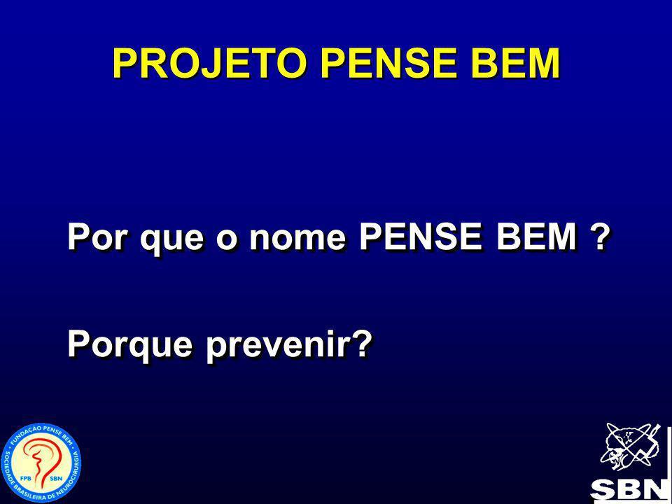 PROJETO PENSE BEM Por que o nome PENSE BEM ? Porque prevenir? Por que o nome PENSE BEM ? Porque prevenir?