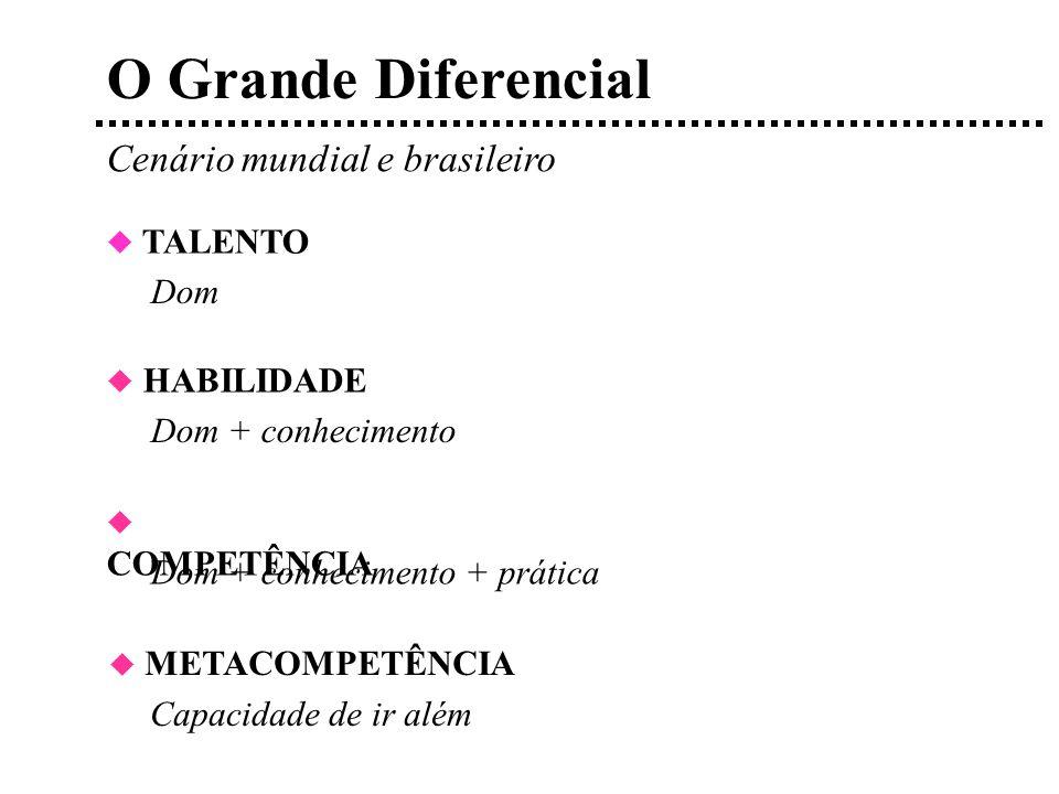 O Grande Diferencial Cenário mundial e brasileiro TALENTO Dom Dom + conhecimento + prática HABILIDADE Dom + conhecimento COMPETÊNCIA METACOMPETÊNCIA Capacidade de ir além