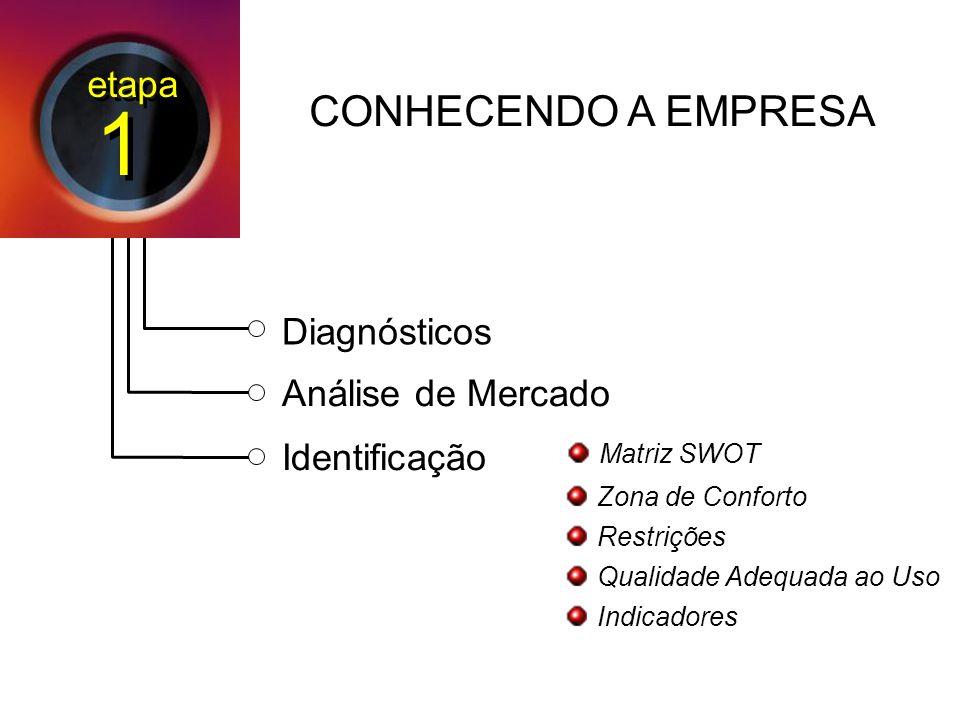 Diagnósticos Análise de Mercado Identificação Matriz SWOT Zona de Conforto Restrições Qualidade Adequada ao Uso Indicadores CONHECENDO A EMPRESA etapa 1 1
