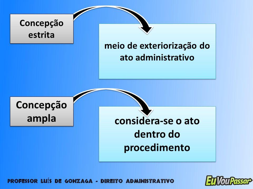 meio de exteriorização do ato administrativo Concepção estrita considera-se o ato dentro do procedimento Concepção ampla