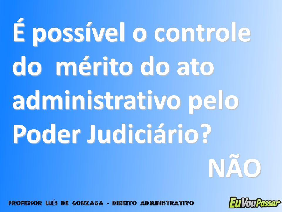 É possível o controle do mérito do ato administrativo pelo Poder Judiciário? NÃO NÃO