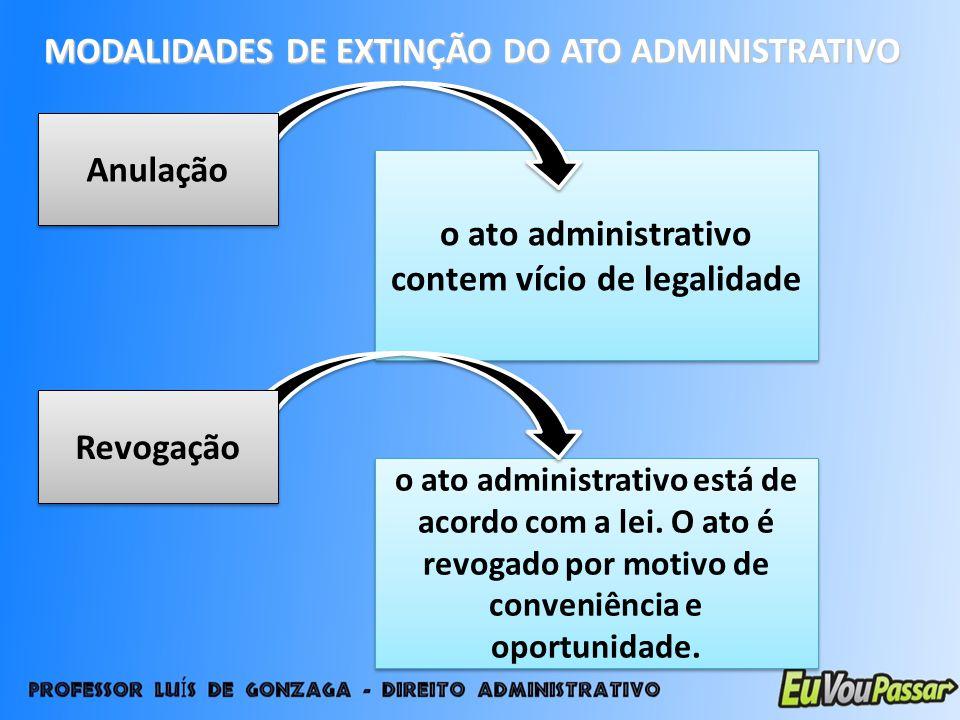 MODALIDADES DE EXTINÇÃO DO ATO ADMINISTRATIVO o ato administrativo contem vício de legalidade Anulação o ato administrativo está de acordo com a lei.